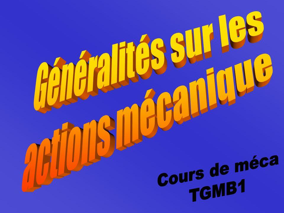 Généralités sur les actions mécanique Cours de méca TGMB1