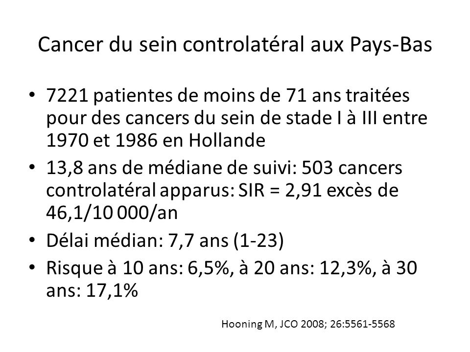 Cancer du sein controlatéral aux Pays-Bas