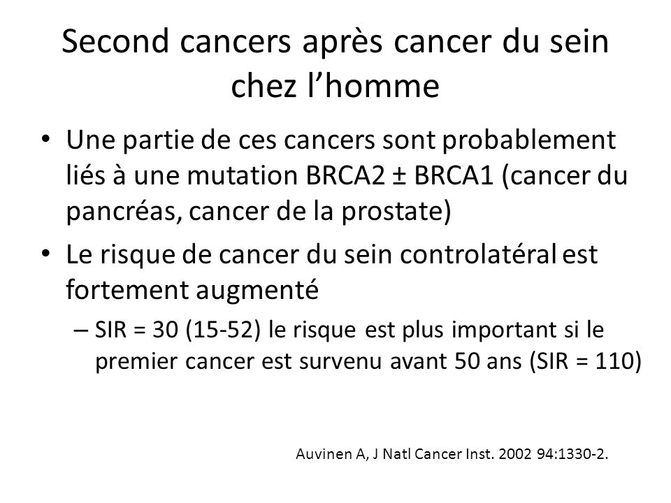 Second cancers après cancer du sein chez l'homme