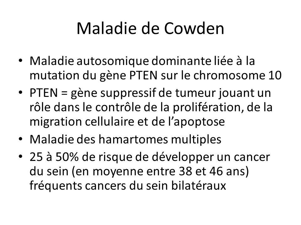 Maladie de Cowden Maladie autosomique dominante liée à la mutation du gène PTEN sur le chromosome 10.