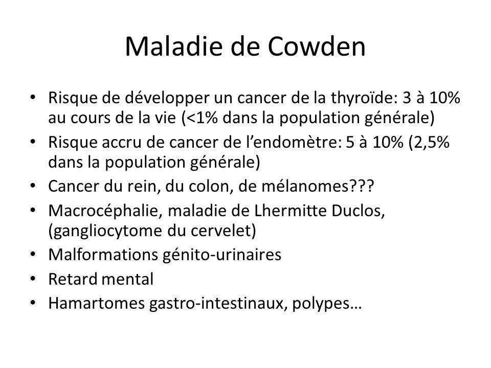 Maladie de Cowden Risque de développer un cancer de la thyroïde: 3 à 10% au cours de la vie (<1% dans la population générale)