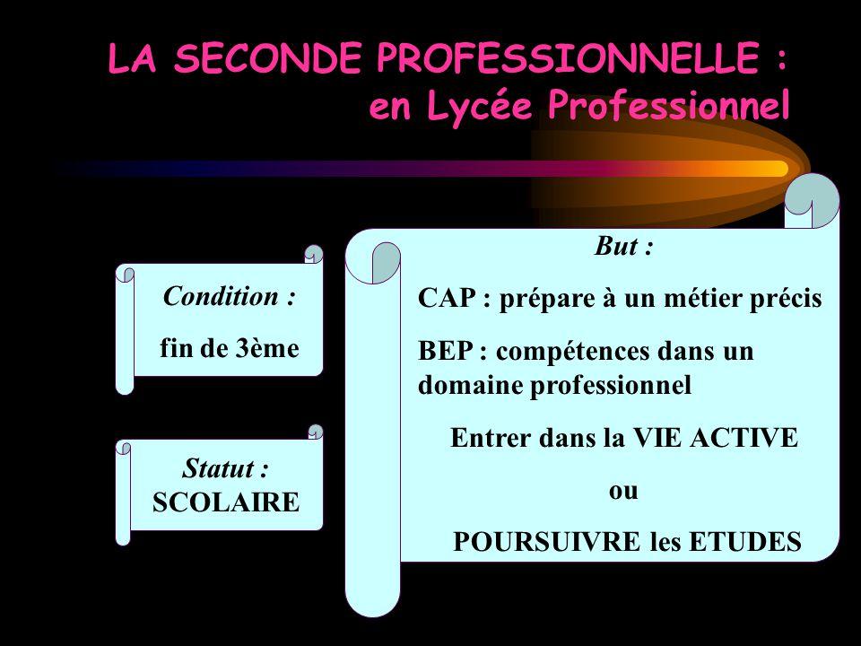 LA SECONDE PROFESSIONNELLE : en Lycée Professionnel