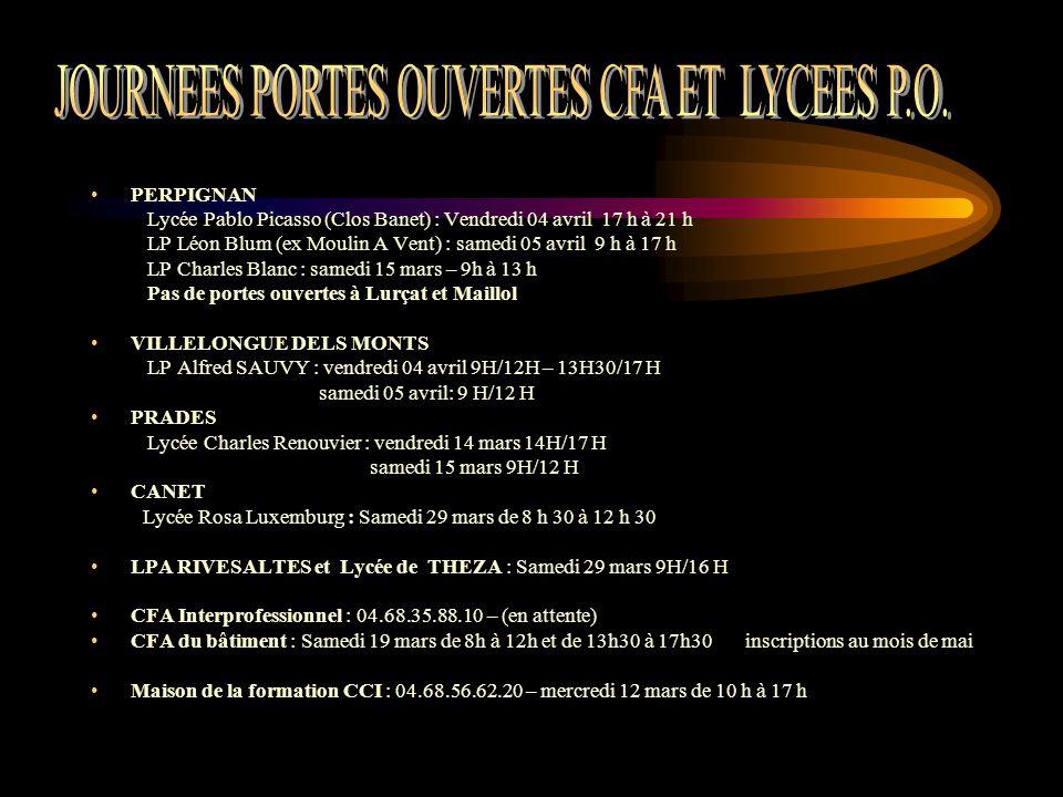 JOURNEES PORTES OUVERTES CFA ET LYCEES P.O.