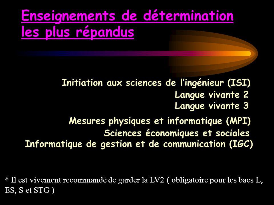 Enseignements de détermination les plus répandus Initiation aux sciences de l'ingénieur (ISI) Langue vivante 2 Langue vivante 3 Mesures physiques et informatique (MPI) Sciences économiques et sociales Informatique de gestion et de communication (IGC)