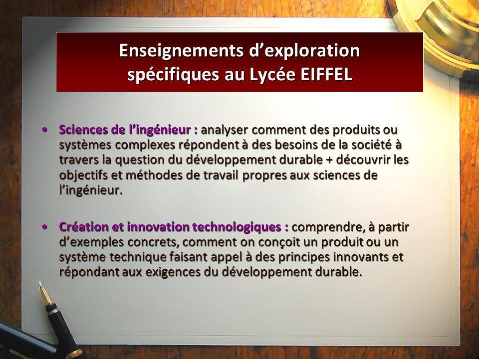 Enseignements d'exploration spécifiques au Lycée EIFFEL