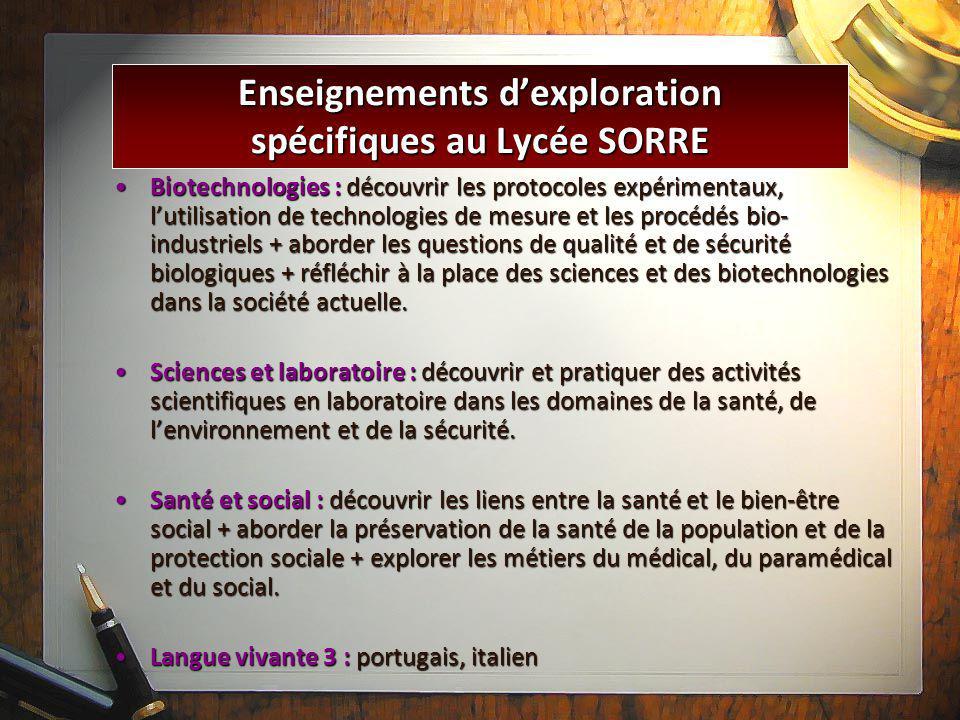 Enseignements d'exploration spécifiques au Lycée SORRE