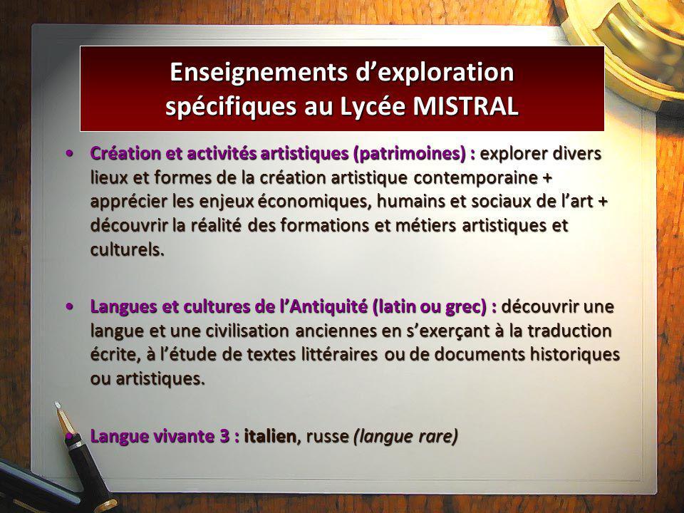Enseignements d'exploration spécifiques au Lycée MISTRAL