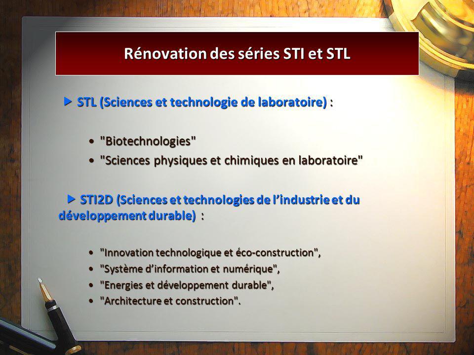 Rénovation des séries STI et STL