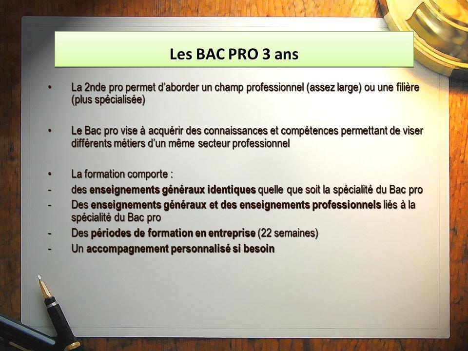 Les BAC PRO 3 ans La 2nde pro permet d'aborder un champ professionnel (assez large) ou une filière (plus spécialisée)