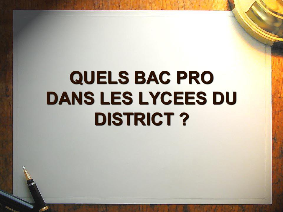 QUELS BAC PRO DANS LES LYCEES DU DISTRICT
