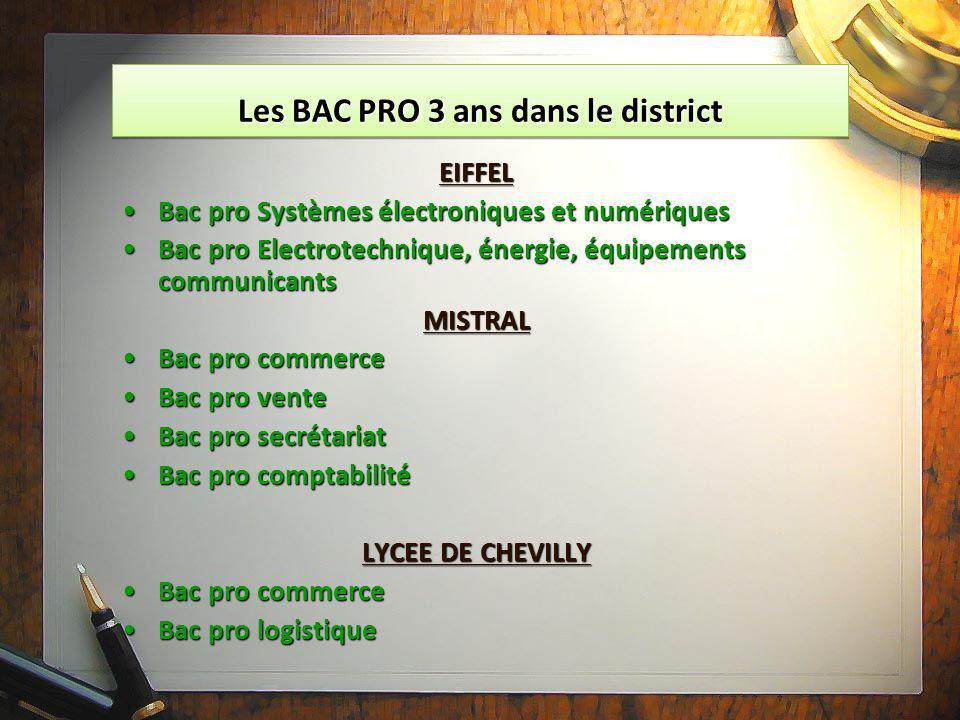 Les BAC PRO 3 ans dans le district