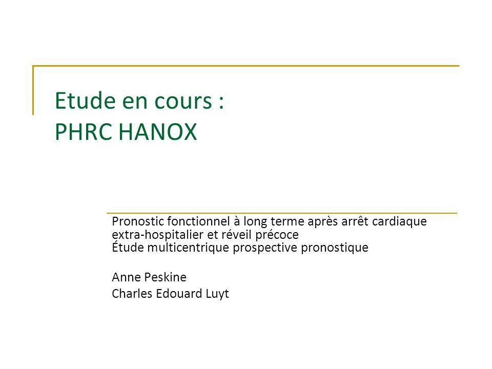 Etude en cours : PHRC HANOX