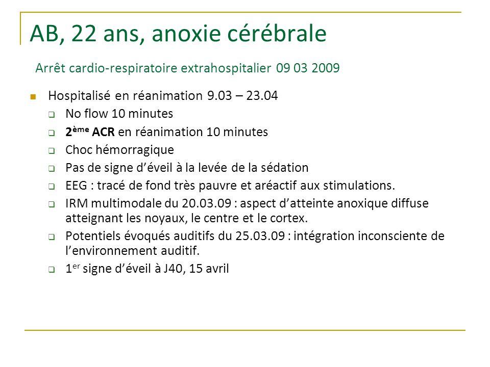 AB, 22 ans, anoxie cérébrale Arrêt cardio-respiratoire extrahospitalier 09 03 2009