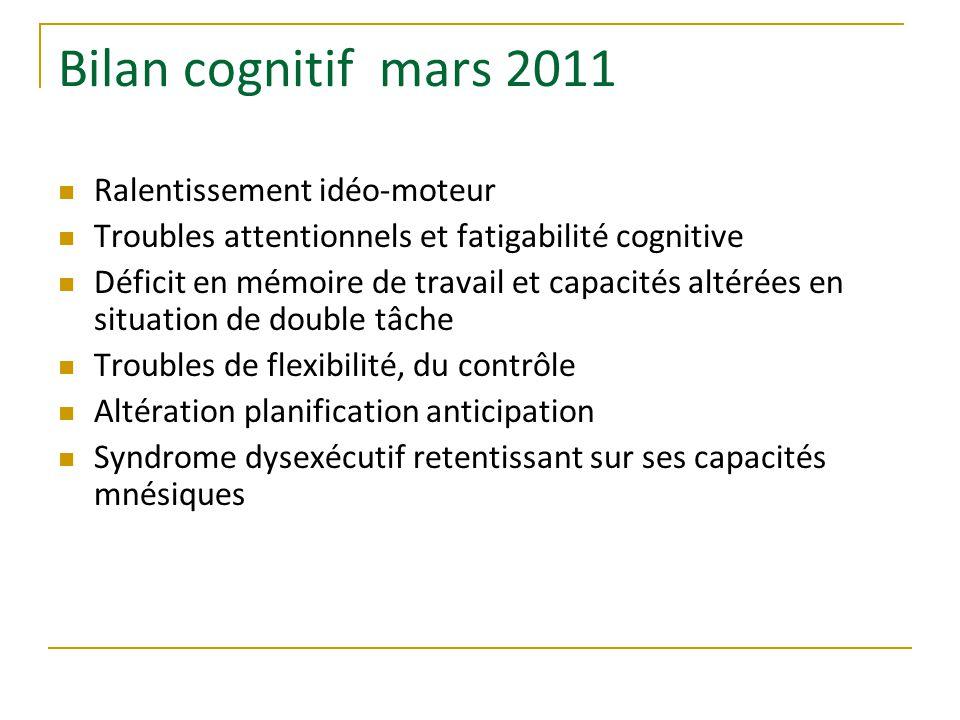 Bilan cognitif mars 2011 Ralentissement idéo-moteur