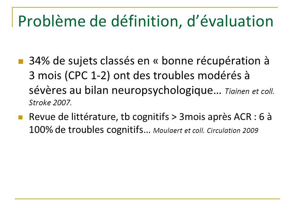 Problème de définition, d'évaluation