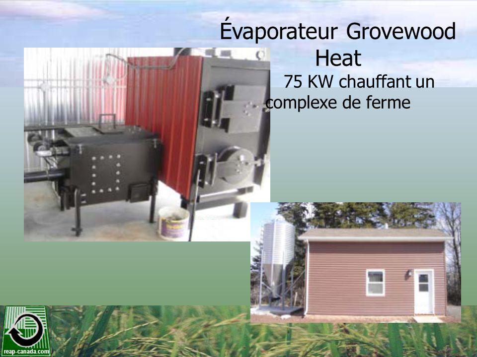 Évaporateur Grovewood Heat 75 KW chauffant un complexe de ferme