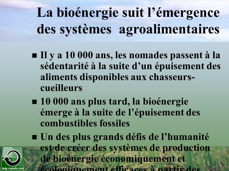 La bioénergie suit l'émergence des systèmes agroalimentaires