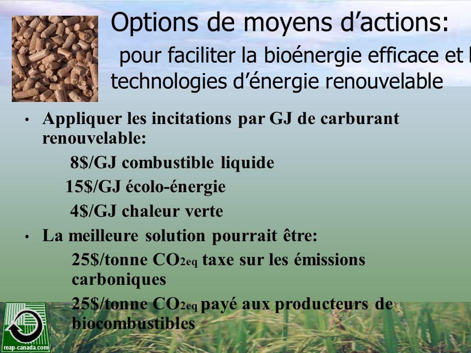 Options de moyens d'actions: pour faciliter la bioénergie efficace et les technologies d'énergie renouvelable