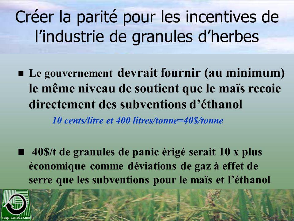 Créer la parité pour les incentives de l'industrie de granules d'herbes