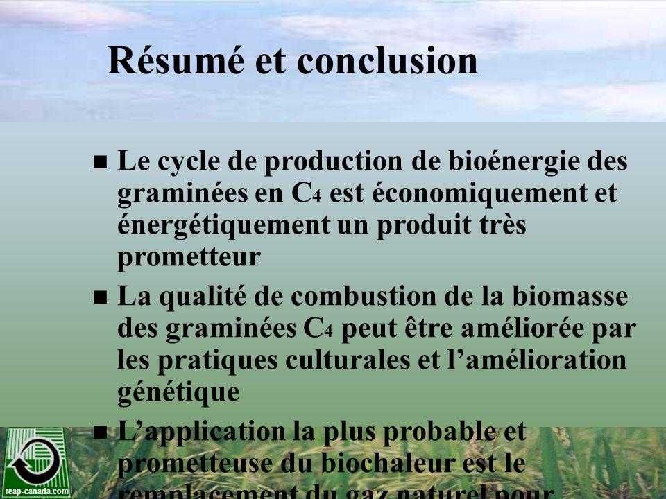 Résumé et conclusion Le cycle de production de bioénergie des graminées en C4 est économiquement et énergétiquement un produit très prometteur.