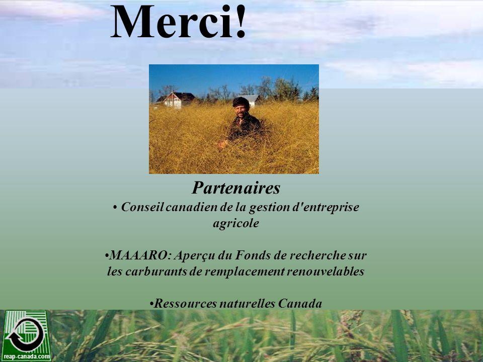 Merci! Partenaires. Conseil canadien de la gestion d entreprise agricole. MAAARO: Aperçu du Fonds de recherche sur.