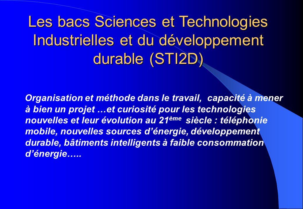 Les bacs Sciences et Technologies Industrielles et du développement durable (STI2D)