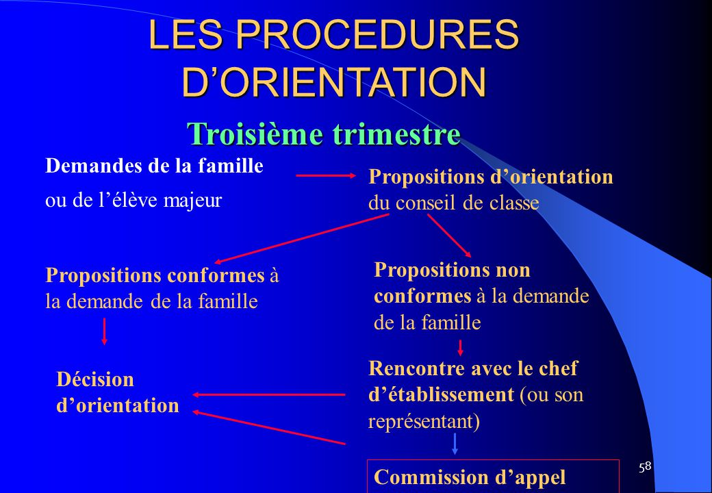 LES PROCEDURES D'ORIENTATION
