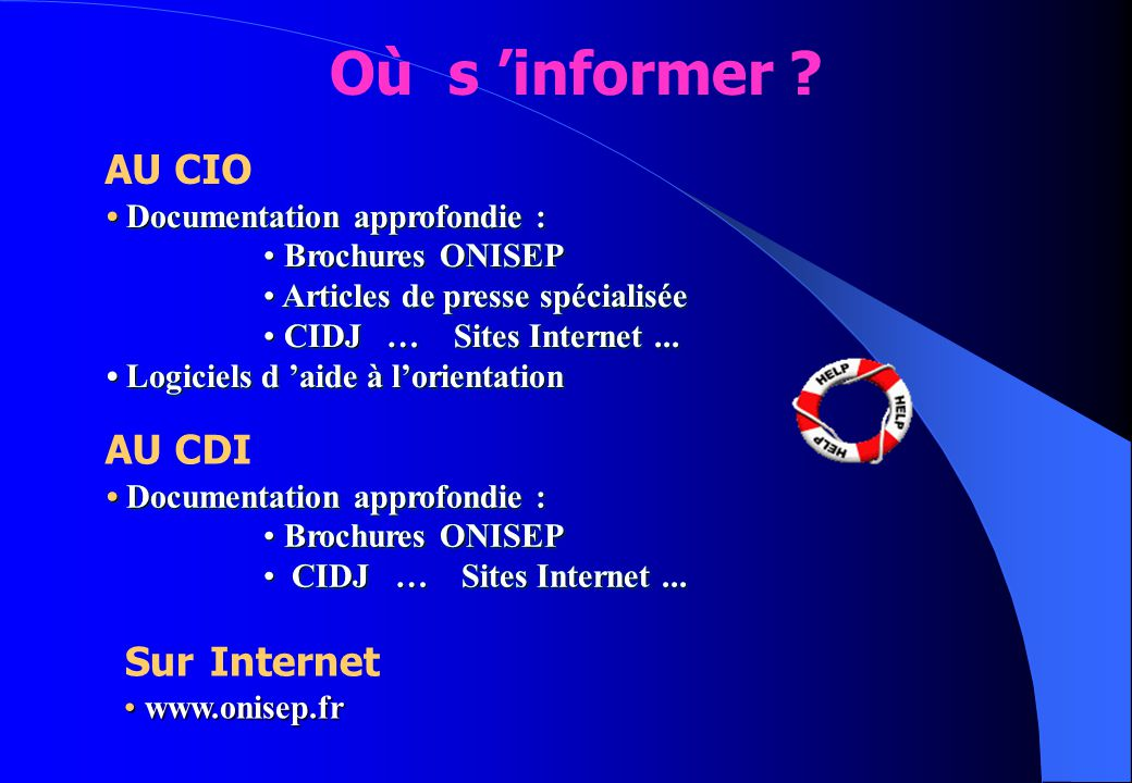 Où s 'informer AU CIO AU CDI Sur Internet