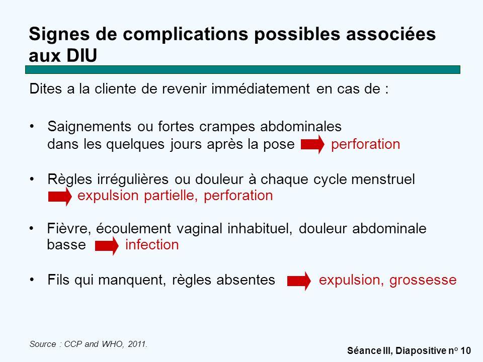 Signes de complications possibles associées aux DIU