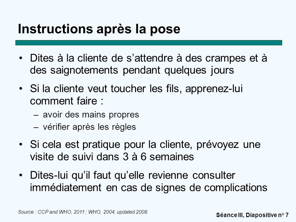 Instructions après la pose