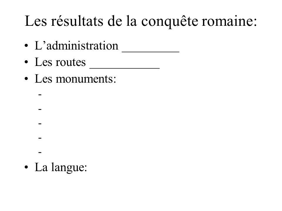 Les résultats de la conquête romaine: