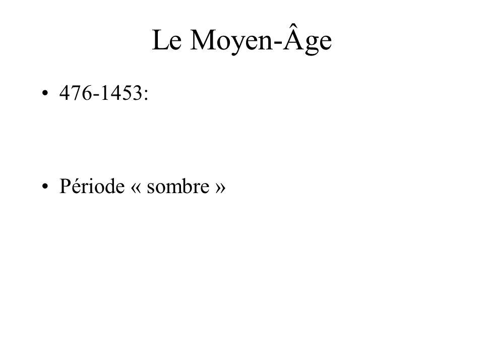Le Moyen-Âge 476-1453: Période « sombre »