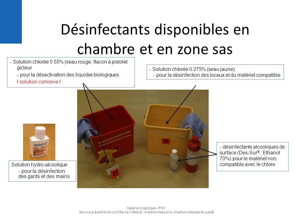 Désinfectants disponibles en chambre et en zone sas
