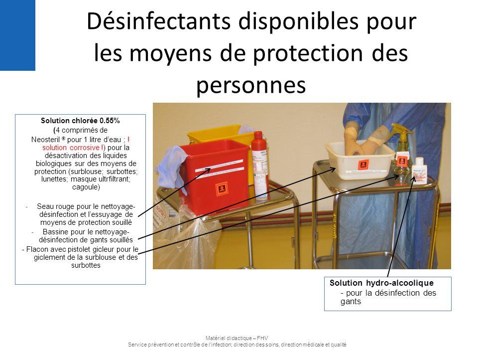 Désinfectants disponibles pour les moyens de protection des personnes