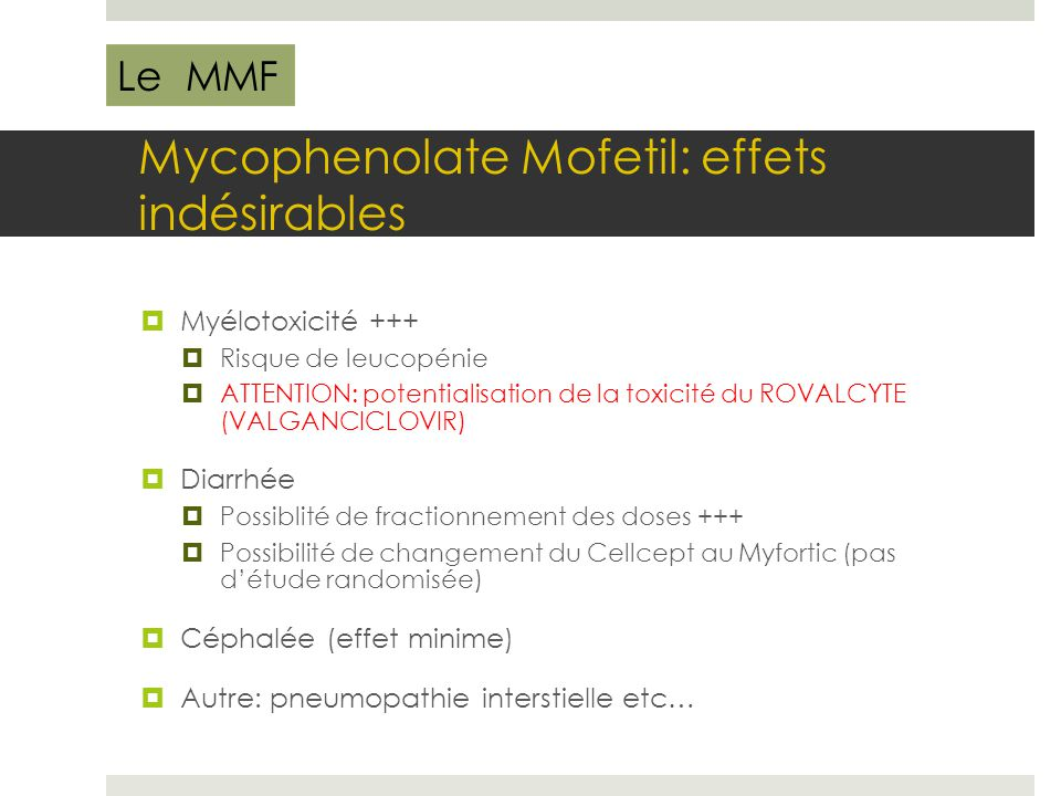 Mycophenolate Mofetil: effets indésirables