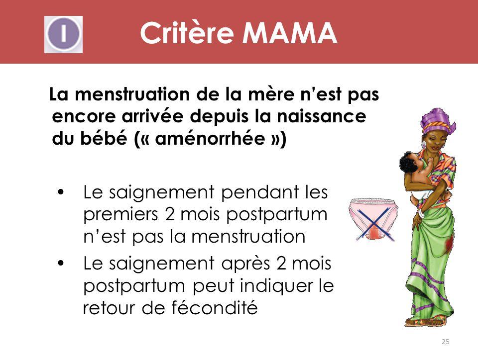 Critère MAMA La menstruation de la mère n'est pas encore arrivée depuis la naissance du bébé (« aménorrhée »)