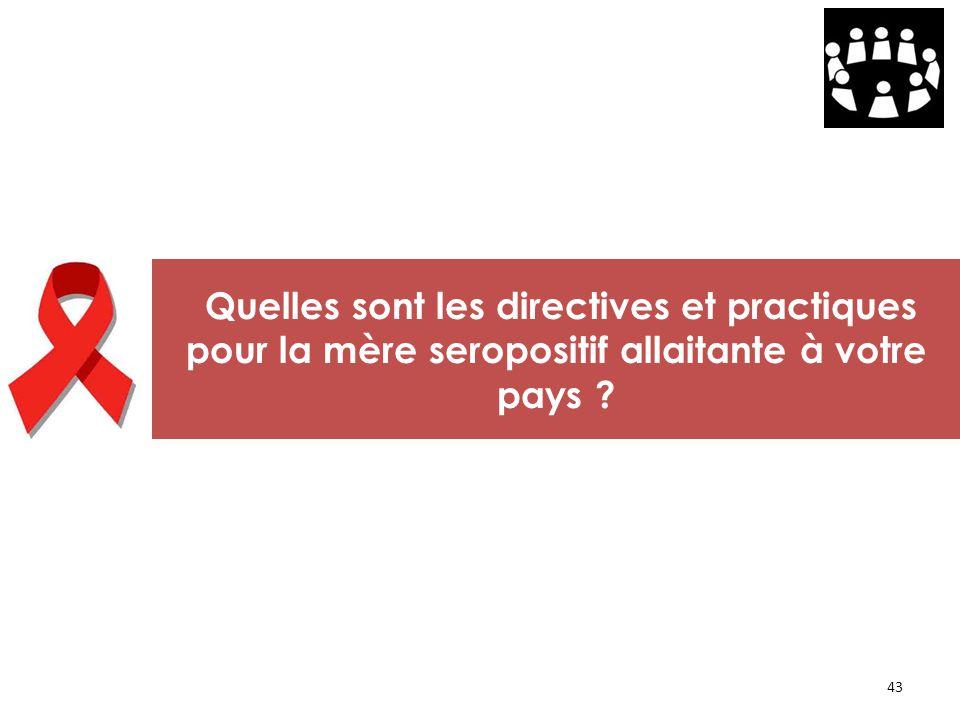 Quelles sont les directives et practiques pour la mère seropositif allaitante à votre pays