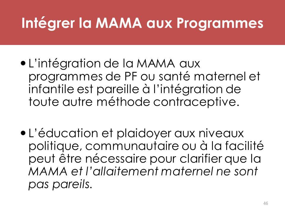 Intégrer la MAMA aux Programmes