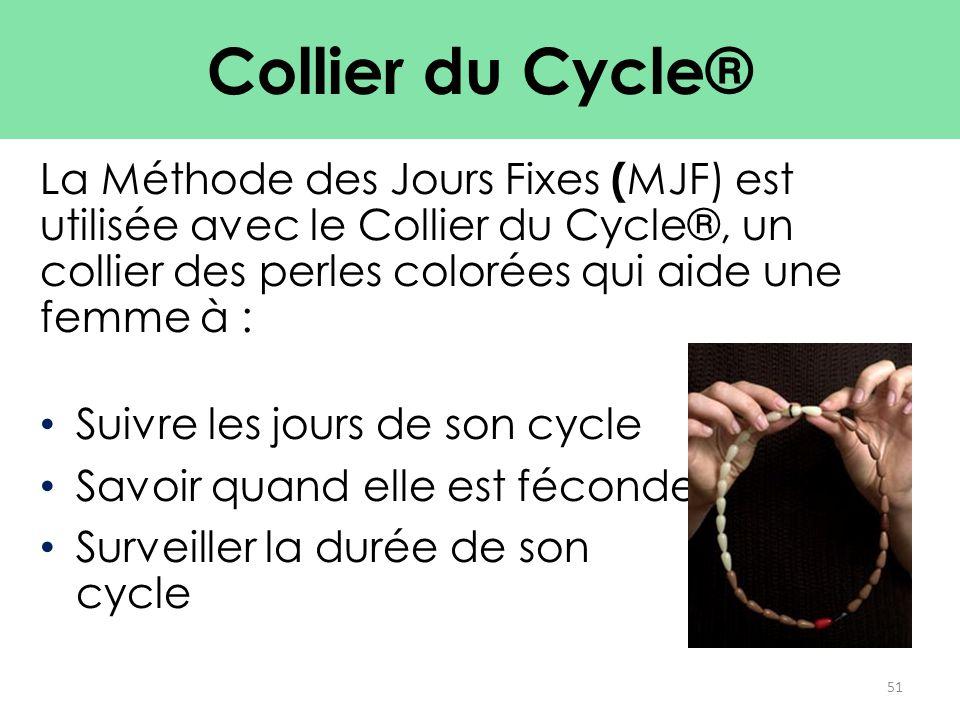Collier du Cycle® La Méthode des Jours Fixes (MJF) est utilisée avec le Collier du Cycle®, un collier des perles colorées qui aide une femme à :