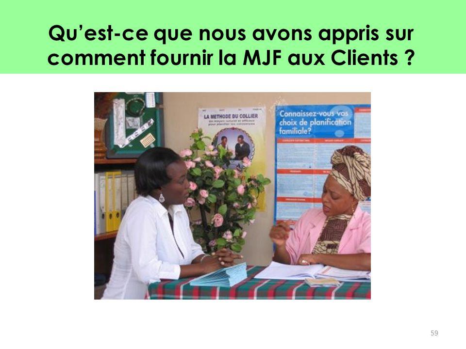 Qu'est-ce que nous avons appris sur comment fournir la MJF aux Clients
