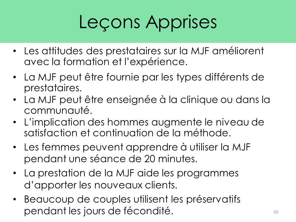 Leçons Apprises Les attitudes des prestataires sur la MJF améliorent avec la formation et l'expérience.