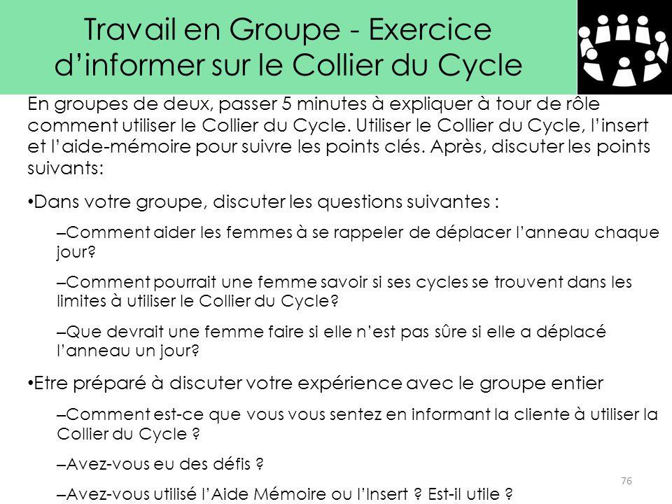 Travail en Groupe - Exercice d'informer sur le Collier du Cycle