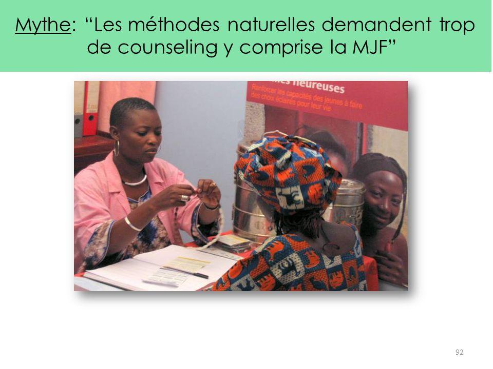 Mythe: Les méthodes naturelles demandent trop de counseling y comprise la MJF
