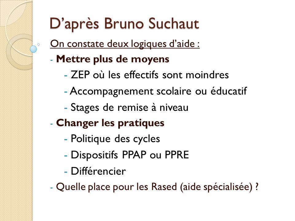 D'après Bruno Suchaut ZEP où les effectifs sont moindres