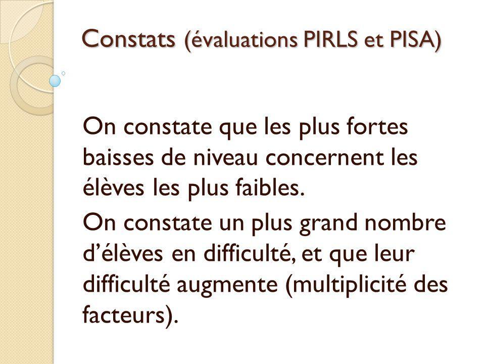 Constats (évaluations PIRLS et PISA)