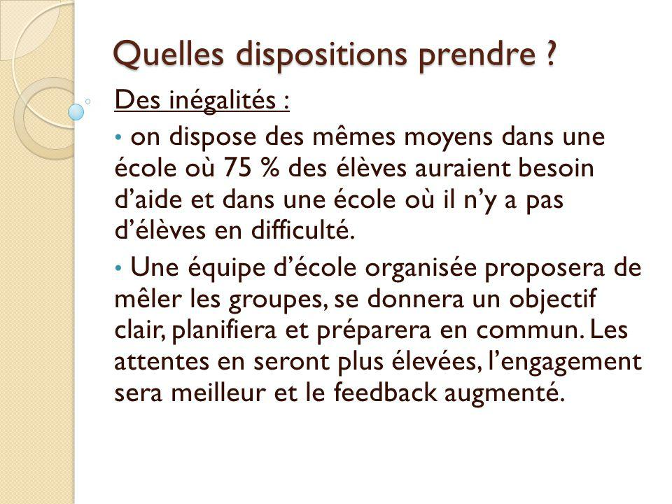 Quelles dispositions prendre
