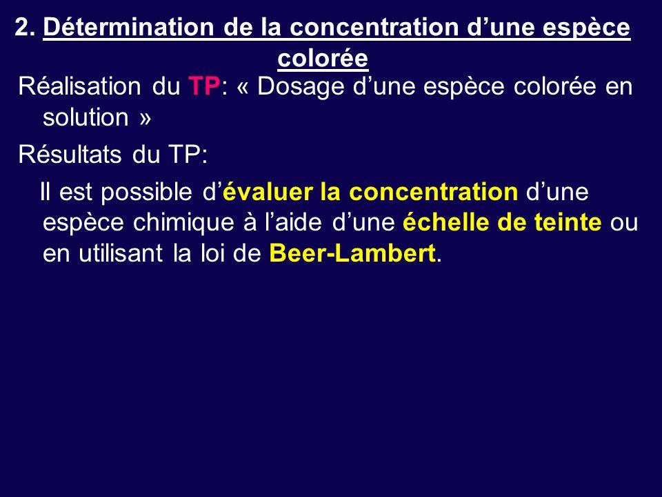 2. Détermination de la concentration d'une espèce colorée