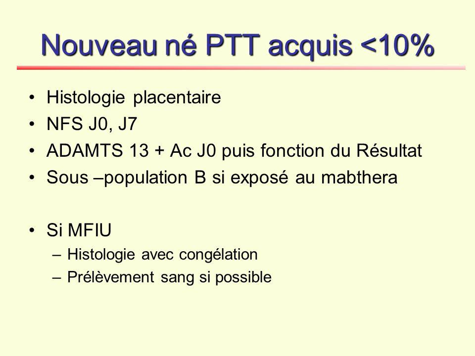 Nouveau né PTT acquis <10%