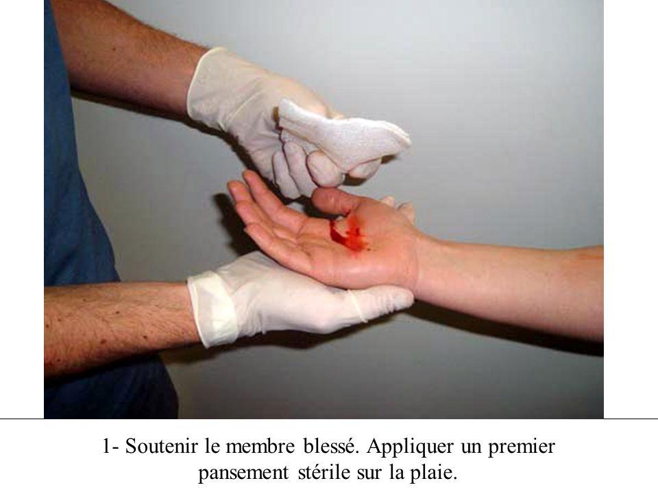 1- Soutenir le membre blessé. Appliquer un premier