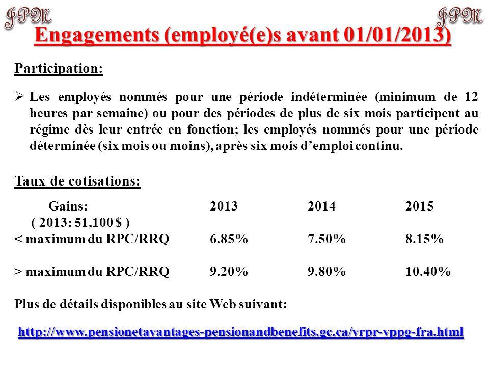 Engagements (employé(e)s avant 01/01/2013)